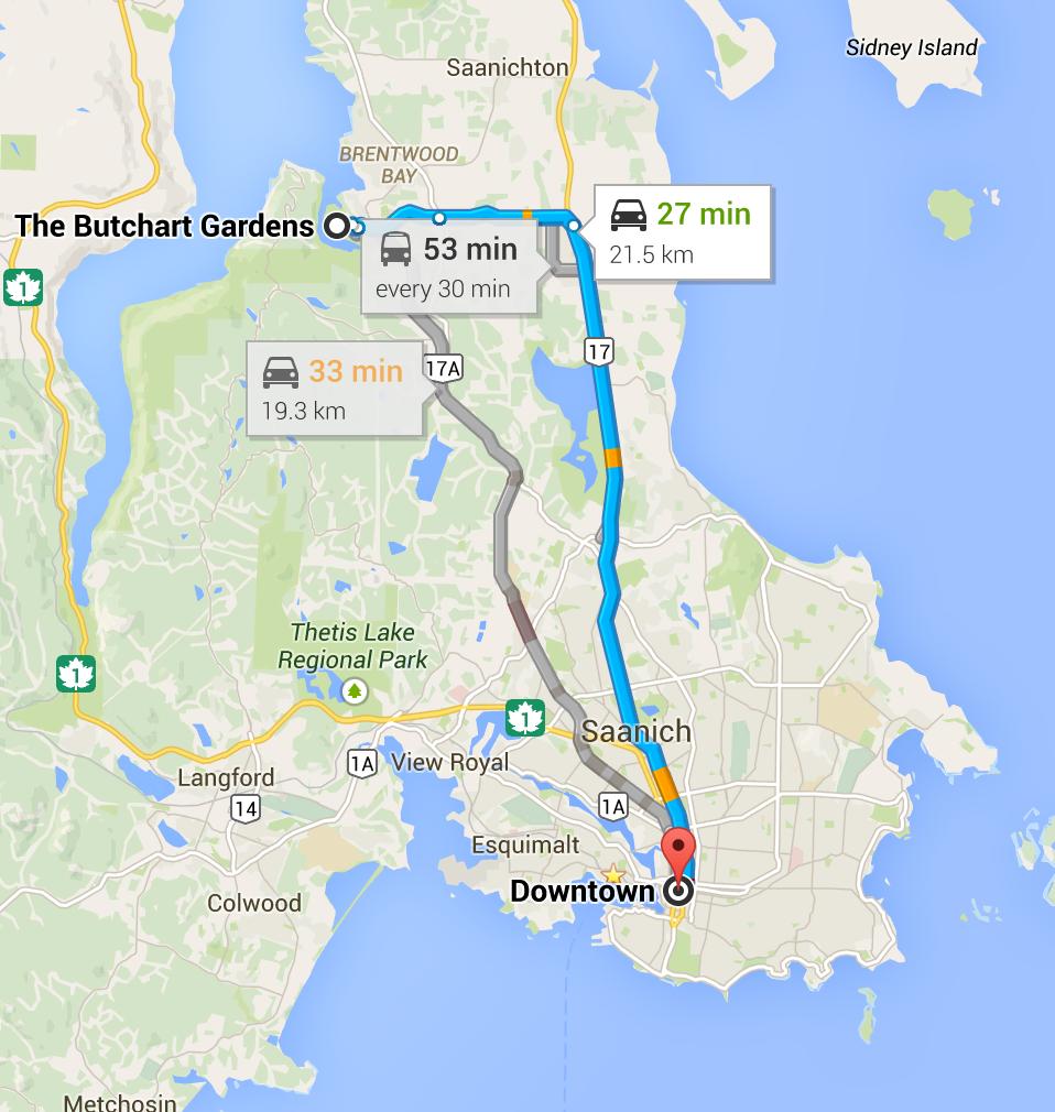 Butchart Gardens Victoria Bc Map