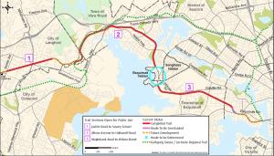 Map of E&N Rail trail