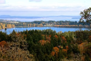 View of Elk Lake and ocean from Dominion Astrophysical Observatory, Victoria, BC, Visitor in Victoria
