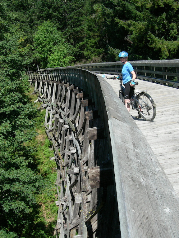 Biking on the galloping goose at Sooke Potholes