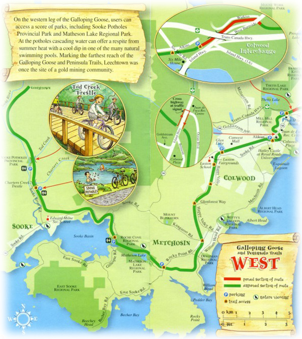 Galloping Goose Map - West