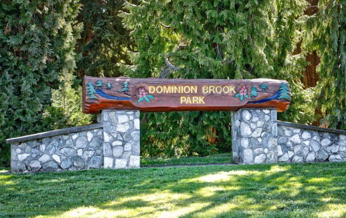 Dominion Brook Park Sign, Victoria, BC Visitor in Victoria