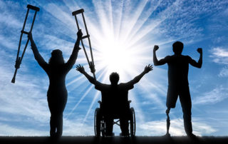 Handicapped people happy with sky