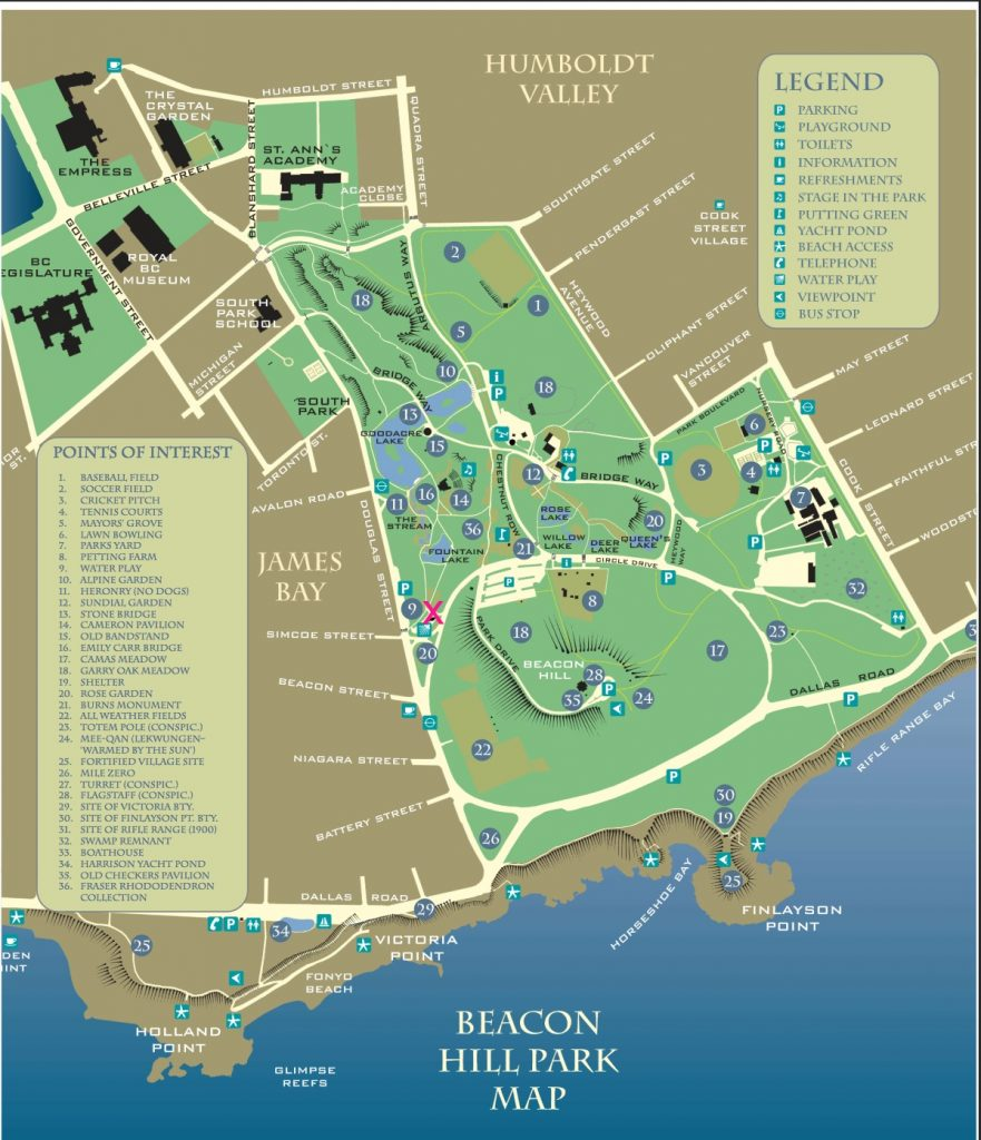Beacon Hill Park Map, Victoria, BC