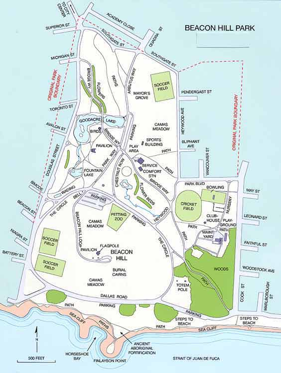 Beacon Hill Park map, downtown Vicctoria parks, Visitor in Victoria