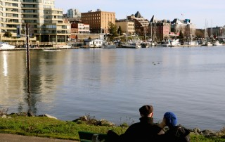 looking at the harbour and the david foster path in Victoria, BC, Visitor in Victoria