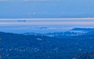 Views of Juan De Fuca Strait, the Olympic Pennisula and Race Rocks Lighthouse from Mt. Finlayson