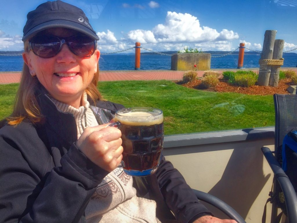 Enjoying a frosty beverage after an enjoyable walk! Sidney Waterfront Walk, Drinking Beer, Sidney, BC, Visitor in Victoria