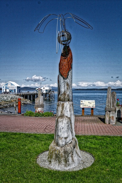 Sculpture on Sidney Waterfront Walkway, Sidney, BC Visitor in Victoria