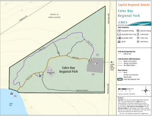 Coles Bay Regional Park Map, Victoria, BC, Visitor in Victoria