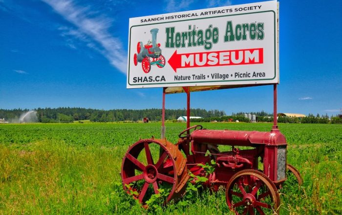 Heritage Acres Sign, Visitor in Victoria