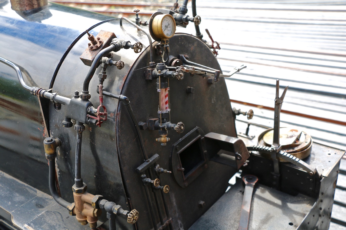 Closeup of model steam locomotive