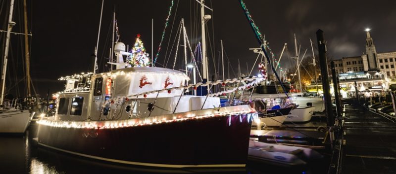 Boats lit up in the inner harbour, Victoria, BC