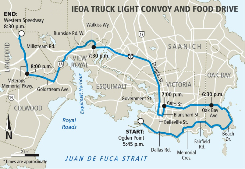 Lighted Truck Parade Route Map, Victoria, BC