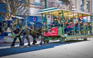 Christmas horse drawn trolley