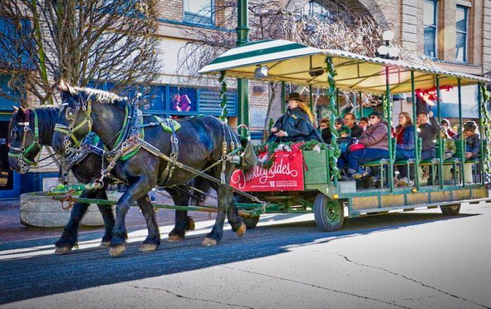 Christmas horse drawn trolley